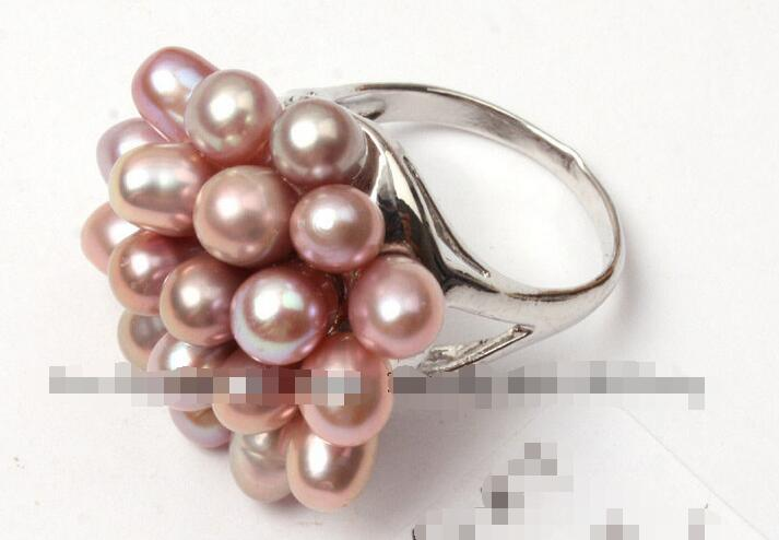 Wholesale price 16new ^^^^6-7mm purple freshwater natural pearl white gold plated ring US size #6 – #7