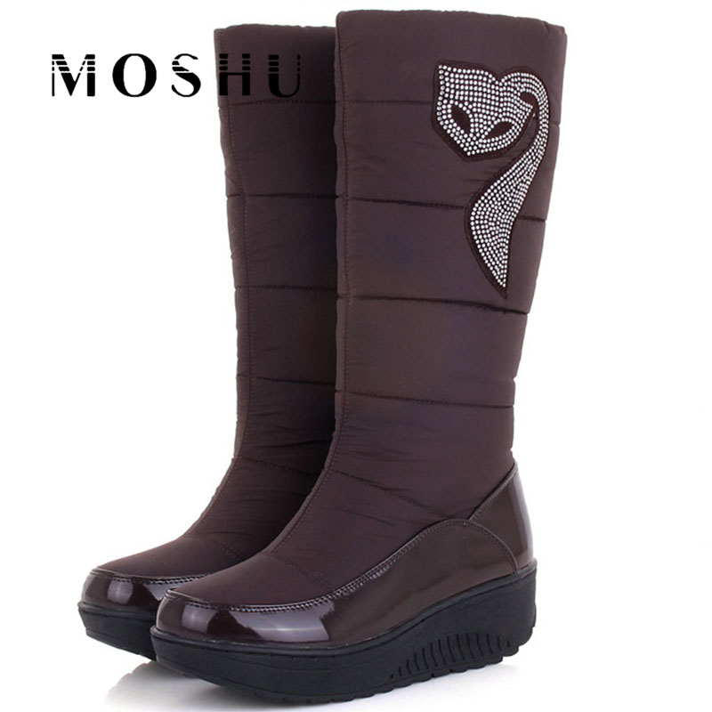 Fashion Women Winter Boots Ladies Snow Mid Calf High Boots Down Wedges Crystal Waterproof Female Shoes