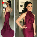 Sexy Backless Mermaid Burgundy Evening Dresses 2016 New Fashion Long Prom Party Gowns high neck Vestido de festa