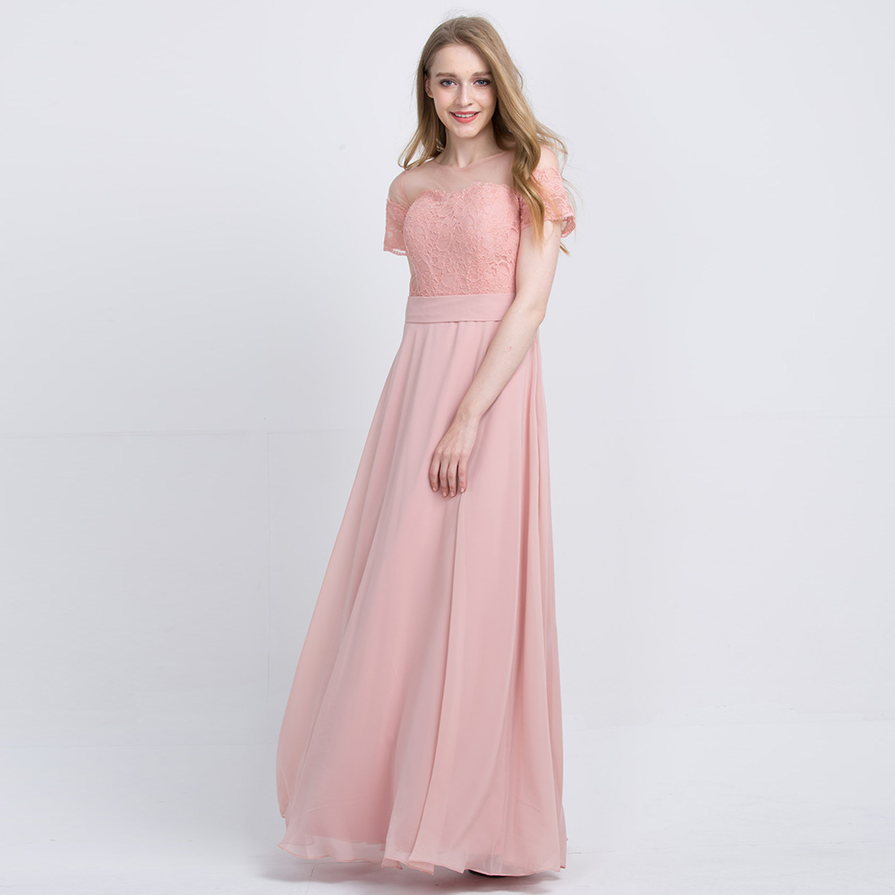 Pink Wedding Dresses 2019: BeryLove Long Blush Pink Chiffon Bridesmaid Dress 2019
