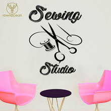 Sewing Studio Wall Decals Vinyl House Decoration Needlework Scissors Wall Stickers For Tailor Muurstickers Interior Mural 3R14