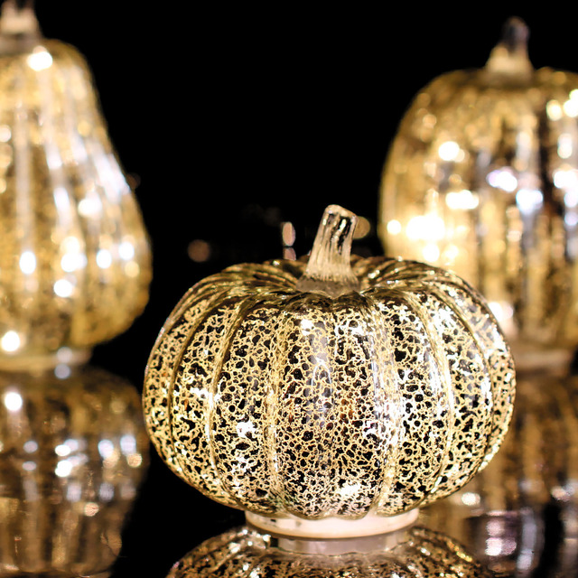 Giveu Mercury Glass Pumpkin Flameless Candle For Halloween And Thanksgiving Decor Led Light With Timer