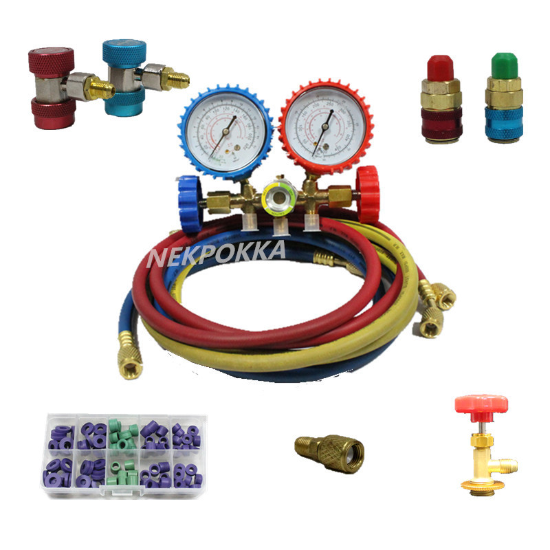 R134 R22 R12 R410,Refrigerant pressure gauge for household air conditioning/Pressure metering of refrigerant filling цена