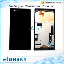 Für sony xperia t2 ultra lcd d5303 d5306 xm50h d5322 display Screen + Touch Digitizer + Frame Vollversammlung 1 Stück Kostenloser Versand