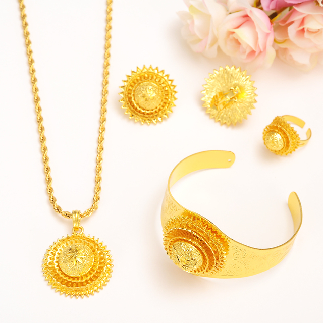 Bangrui New Big Ethiopian Wedding Jewelry Set Gold Color Eritrea