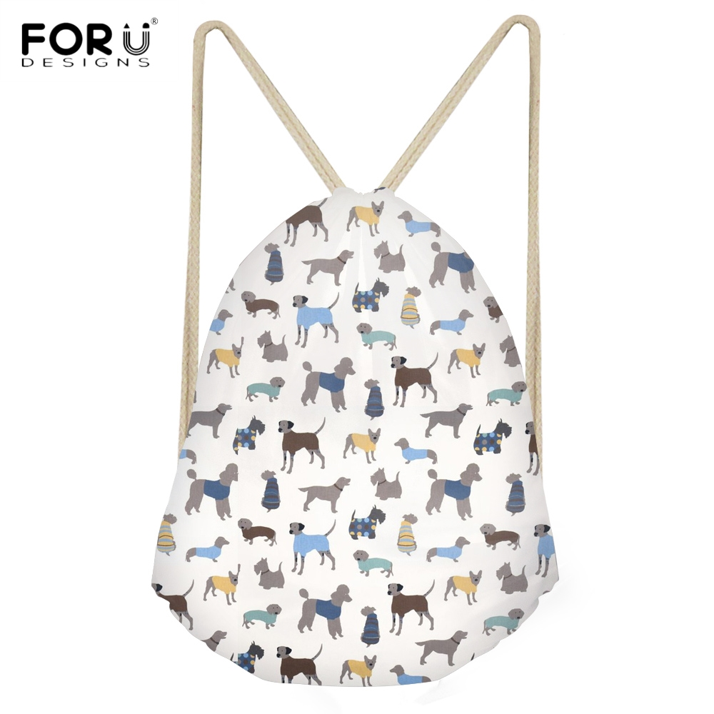 FORUDESIGNS Fashion Woman Drawstring Bags Cute Puppy Italian Greyhound Print Students Backpacks Softback Travel Storage Sack Bag
