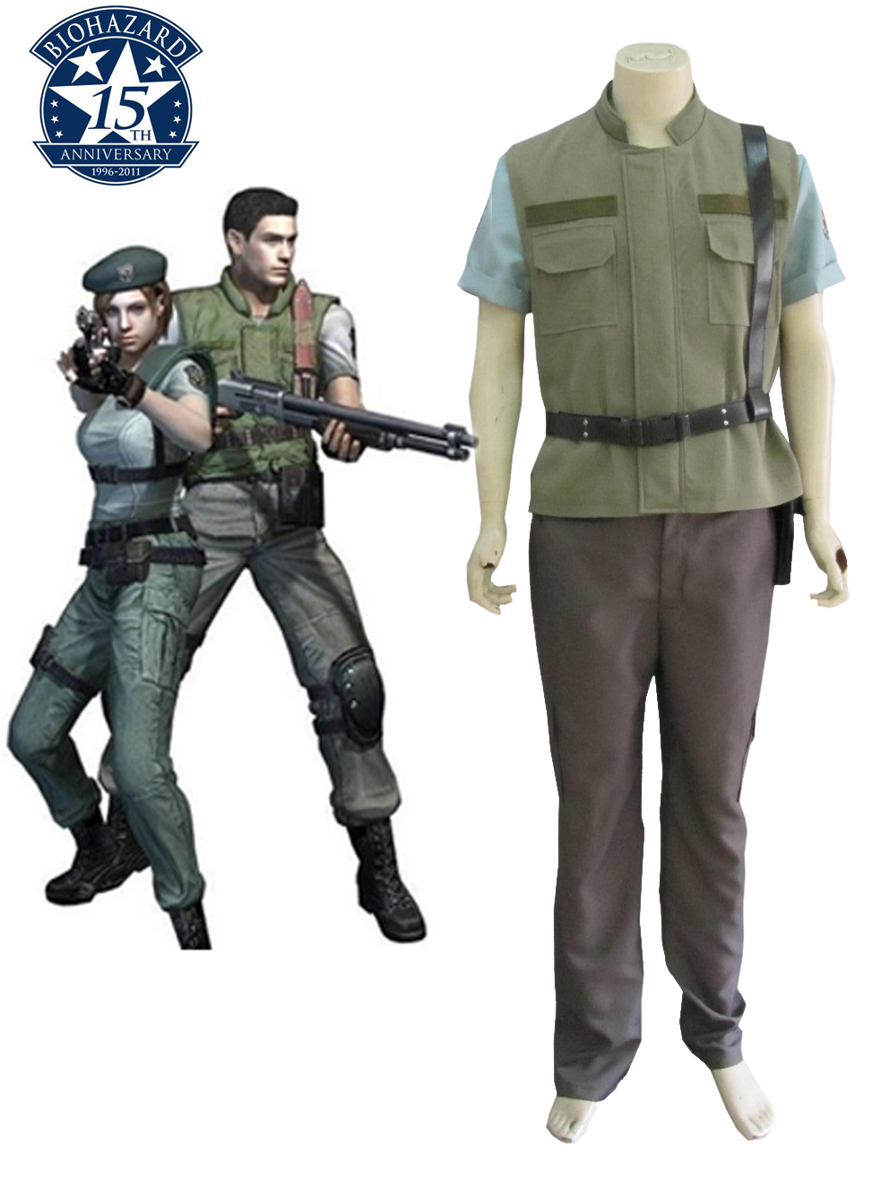 Free Shipping Resident Evil 1 Chris Redfield S.T.A.R.S. Uniform Anime Cosplay Costume