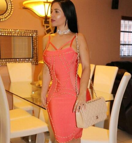 Khaki and Peach Red Color Ladies HL Bandage Dress Sleeveless Sexy Bodycon  Mini Dress Evening Party Dress cc3d9eacf