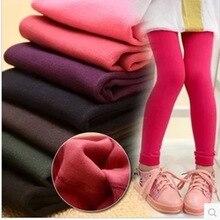 2017 Autumn Winter Solid Baby Girl Legging Pants LKids Leggings Plus Velvet Fashion Children Pants Warm Girl Leggings for 2-10T цена