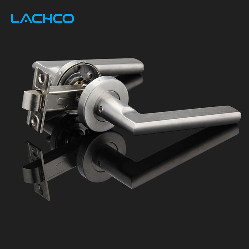 304 acier inoxydable sans clé serrure de porte boutons de porte poignées de porte pour porte intérieure chambre salle de bains simple loquet DL16007