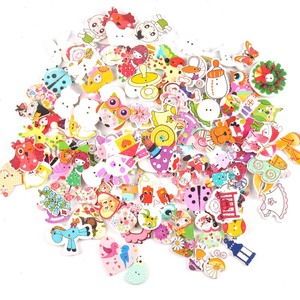 Mixed Cartoon Painting Wooden decorative Buttons For Sewing clothing Scrapbooking Crafts home decor 30pcs 15-35mm MT1892