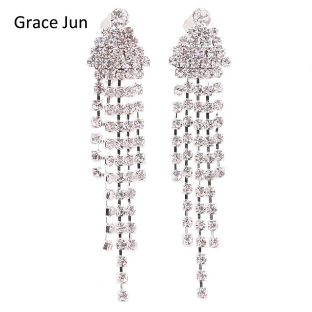 Grace juntm new arrival triangle shape tassel rhinestone clip on grace juntm new arrival triangle shape tassel rhinestone clip on earrings no pierced aloadofball Images