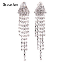 Grace Jun(TM) New Arrival Triangle Shape Tassel Rhinestone Clip on Earrings No Pierced Charm Chandelier Jewelry No Hole Ear Clip