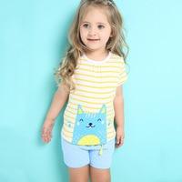 100 Cotton Summer Girls Children Clothing Set Cute Short Sleeve T Shirt And Short Pants Fashion