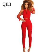 QILI Elegant Fashion Voile Beading Patchwork Women Jumpsuits Sexy See Through Long Sleeve Overalls Black Red