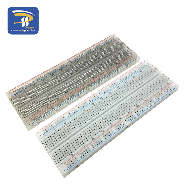 1pc NEW MB-102 MB102 Breadboard 830 Point Solderless PCB Bread Board Test Develop DIY White/Transparent