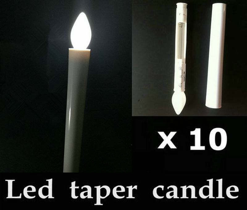 h 10pcs Remote Controlle Led Taper Candlestick Wedding Table Home Decor Candleabra Church Lamp Flameless Candle 17.5cm -amber