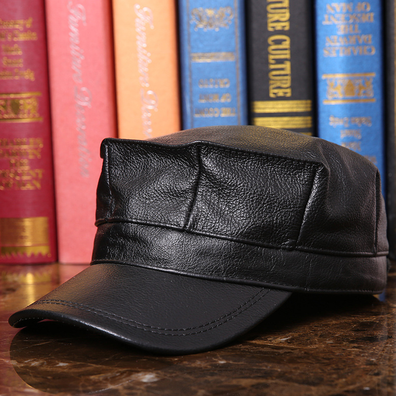 Men's Leather Hat Adult Autumn Winter Leather Cap Elderly Octagonal Cap Genuine Leather Flat Hat Male Peak Baseball Cap B-7288 military hat flat cap m177