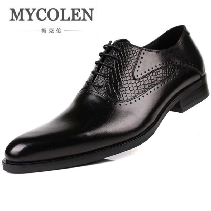 MYCOLEN Genuine Leather Men Shoes Dress Black Brown Italian Fashion Wedding Male Shoes Business Social Male Shoes Ayakkabi mycolen mens genuine leather shoes dress italian leather male shoes elevator glitter black brown business shoes four seasons
