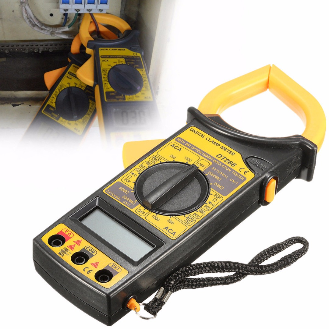 New DT266 Clamp Meter AC/DC Current Voltage Tester LCD Digital Clamp Multimeter Measuring Tools + Test Cable