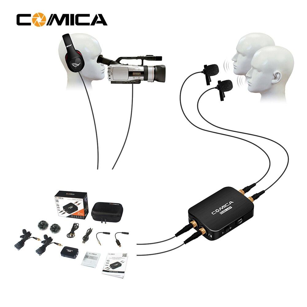 COMICA CVM-D03 Double tête Cravate amovible multifunctiona Microphone pour Smartphone action DSLR caméra Entrevue Youtube