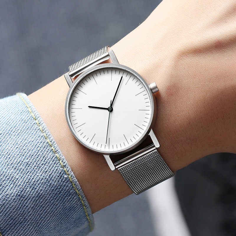 Bauhaus минималистичный стиль кожаные часы Swiss Rhonda 763 движение Минимальный 36 мм нержавеющая сталь Meshbelt пара часов