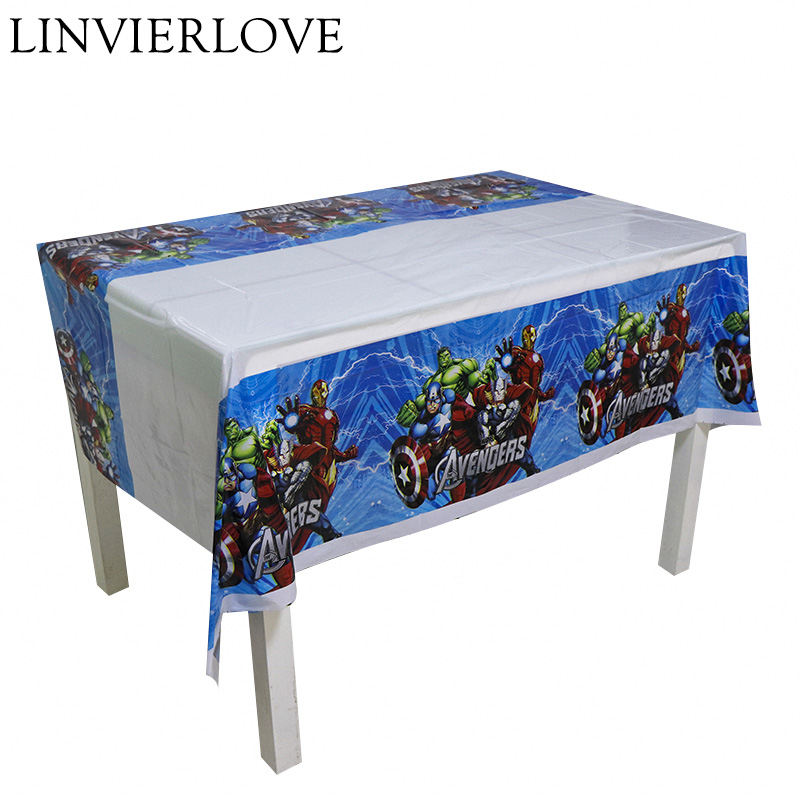 108*180cm Cartoon Avengers Plastic Disposable Tablecloths Cover Party Decoration For Kids Boys Girls Birthday Party Supplies