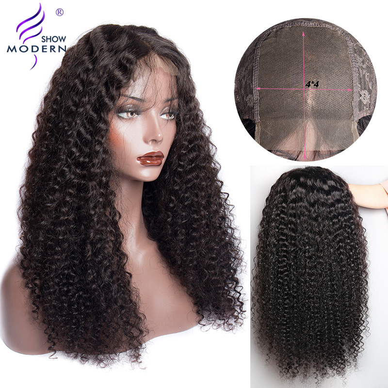 Curly Lace Closure Human Hair Wigs 4*4 Lace Closure Wig Brazilian Remy Human Hair Wig Pre Plucked For Black Women Modern Show