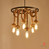 Dynasty Country Natural Loft Style Pendant Lamp Rope Edison Art Decorative Hanging Lights Vintage Retro Restaurant Coffee Shop
