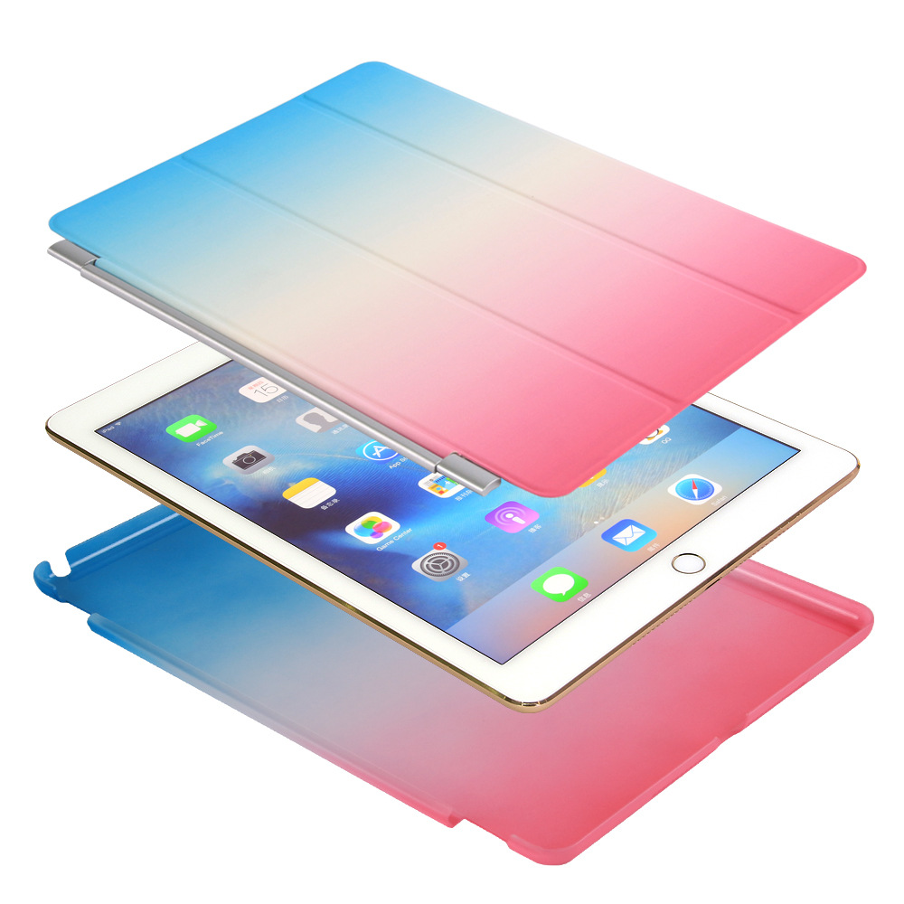 Rainbow Gradient Magnetic Flip Cover For iPad Pro 9.7 <font><b>10</b></font>.5 Air Air2 Mini <font><b>1</b></font> 2 3 <font><b>4</b></font> Trifold Tablet Case for New iPad 9.7 2017 image