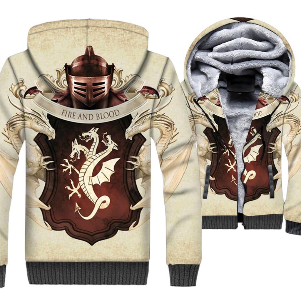 Game Of Thrones Targaryen 3D Felpe Gli Uomini 2019 Inverno Caldo Giubbotti Fuoco E Sangue di Drago Stampato Uomini Tuta Hip Hop streetwear