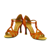YOVE Customizable Latin / Salsa Satin Dance Shoes w137-1 for women 3.25 Flare Heel More Color