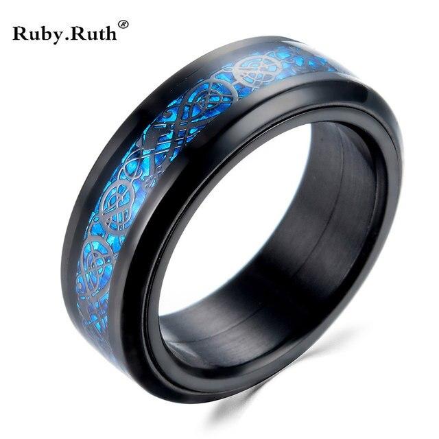 Schwarz Farbe Blau Carbon Edelstahl Drachen Kann Drehen Manner Ringe