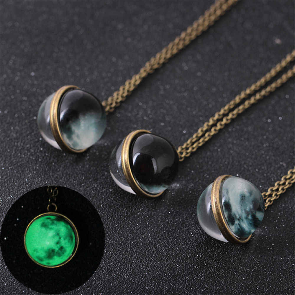 Fashion Women Men Double-sided Glow In Dark Full Moon crescent Glass Ball Pendant Necklace Jewelry