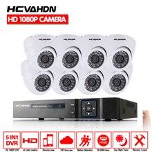 HCVAHDN CCTV Surveillance Camera Syatem 8CH 1080P AHD Camera System AHD DVR Video Recorder With 8PCS 2MP AHD Dome Camera kit