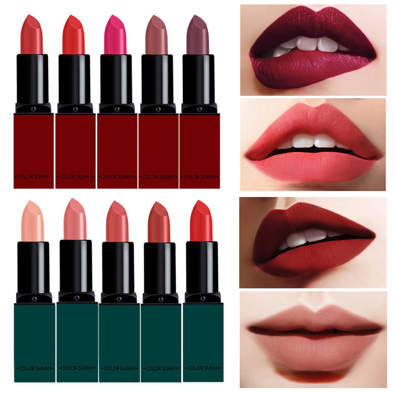 2017 Fashion Red Lips Velvet Lipstick Waterproof Beauty Batom Matte Lip Gloss Nude Lip Stick Makeup
