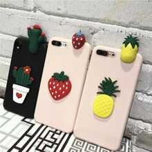 hot deal buy 3d cactus phone case for samsung galaxy s8 soft tpu cartoon pineapple  strawberry back cover cases for samsung galaxy s8 plus