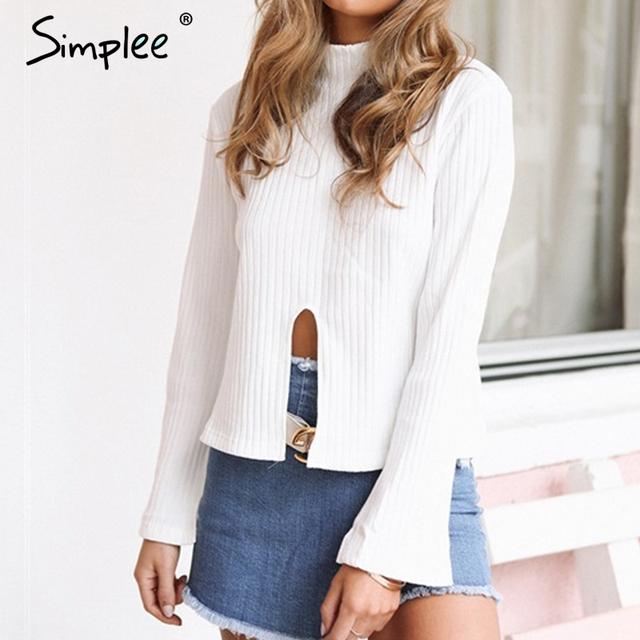 Simplee flare manga gola camisa blusa branca mulheres sexy frente dividir verão tops 2017 novo partido blusa blusas casuais