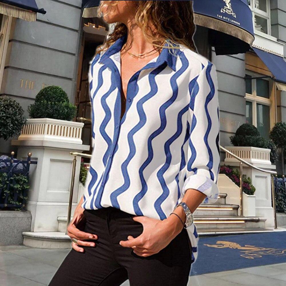 Manga Tamaño Camisa Las Sexy azul Rayas Señoras Cuello Camisetas En Estampado Negro Gran A Frontal Blusa Botón Mujer Larga Con Ropa Moda Casual V Trabajo gris pt borgoña De Blusa qqgvZa