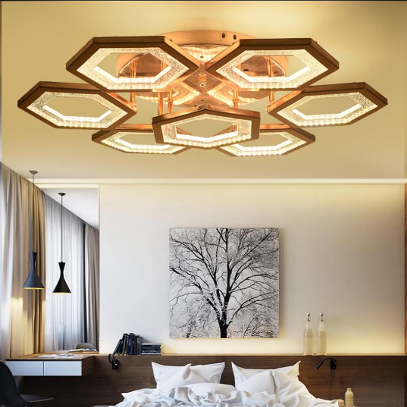 Modern minimalist electroplating hardware ceiling lamp creative hexagonal rose gold acrylic LED lighting living room decoration