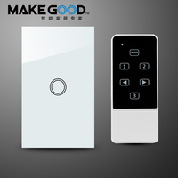 MakeGood US Standard New Design Remote Control Switch Touch Glass Screen Panel Light Switch 1 Gang