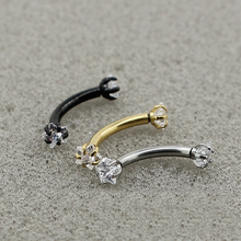 1Pcs Surgical Steel Curved Barbell Zircon Crystal Eyebrow Ring