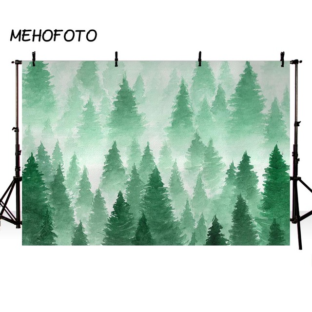 Watercolor Christmas Tree Backdrop Photography Green Forest Background Baby Portrait Photobooth Newborn Photo Props
