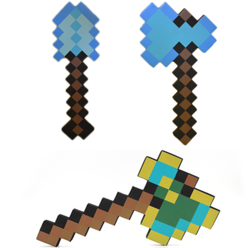 New Minecraft Toys Minecraft Foam Axe Shovel EVA Toys Minecraft Game Weapons Model Toy Action Figures Toys Gift for Kids Fun 48pcs lot action figures toy stikeez sucker kids silicon toys minifigures capsule children gift