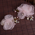 Bridal jewelry pearl flower chiffon burnt edges suits headdress hair ornaments bride wedding dress accessories