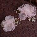 Joyería nupcial de la perla flor de la gasa bordes quemados trajes ornamentos del pelo del tocado de novia de la boda vestido de accesorios
