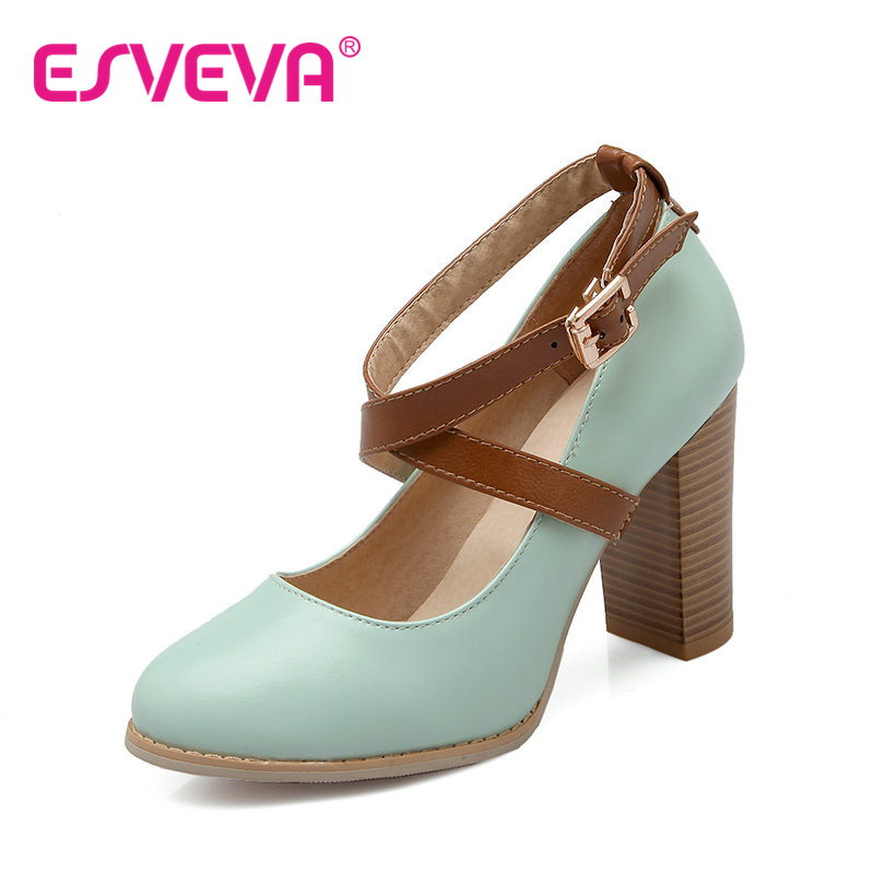 ФОТО ESVEVA Mixed Color Buckle Strap Pu Soft Leather Round Toe Women Pump Rough High Heels Autumn/Spring Miss Party Shoes  Blue