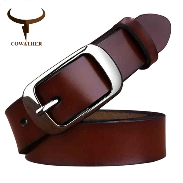 COWATHER Luxury cow genuine leather belt for women free shipping