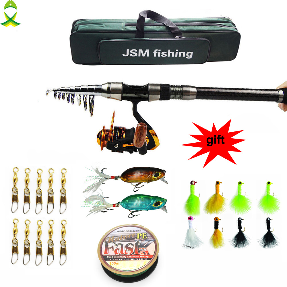 JSM 2.1M/2.4M/2.7M/3.0M/3.6M Telescopic Fishing Rod Combo Full Kit Spinning Reel Pole Set HOT SALE akg pae5 m