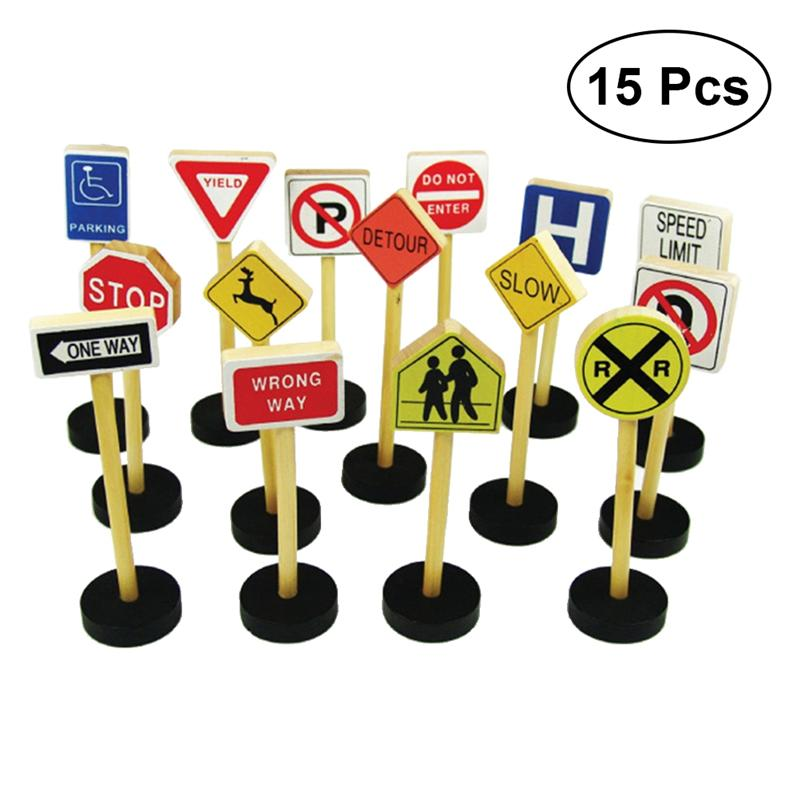 15pcs Wooden Kids Street Traffic Signs Toys Educational Toys For Knowledge Learning Kids Gifts Childrens Traffic Signs Toys
